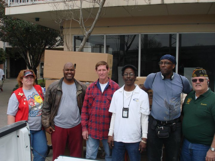 Click on Photo to view Gallery - Ladies Auxiliary member Judy Brawner and Post member Everett Ison helping Homeless Veterans